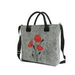 Filcová taška přes rameno Wild Flowers – šedá