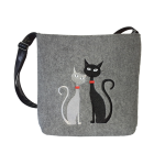 Filcové crossbody Black & White Cats in Love