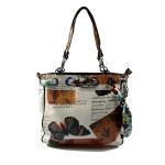 hnědo-bílá barevná kabelka na rameno Sally