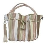 Kožená barevná s růžovou crossbody kabelka marci