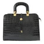 Kožená luxusní černá krokodýlí kabelka do ruky palomi