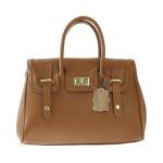 Kožená luxusní hnědá kabelka do ruky Aliste