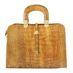Kožená luxusní koňaková hnědá krokodýlí kabelka do ruky palomi