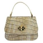 Kožená luxusní menší béžová kabelka do ruky Zoe