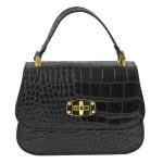 Kožená luxusní menší černá kabelka Zoe