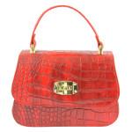 Kožená luxusní menší červená kabelka Zoe