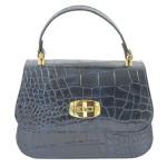 Kožená luxusní menší modrá kabelka do ruky Zoe