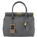 Kožená luxusní šedá kabelka Aliste