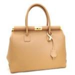 Kožená luxusní světle hnědá kabelka Aliste