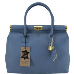 Kožená luxusní světle modrá černá kabelka Aliste