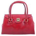 Kožená luxusní sytě červená bordó kabelka Olgin