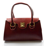 Kožená luxusní tmavě červená bordó kabelka Olgin
