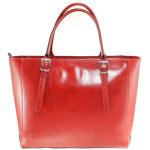 Kožená luxusní velká červená kabelka Havelan