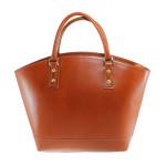Kožená luxusní velká mahagonově hnědá kabelka Clasic