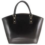 Kožená luxusní velká tmavě hnědá kabelka Clasic