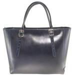 Kožená luxusní velká tmavě modrá kabelka Havelan