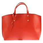 Kožená praktická červená bordó velká taška do ruky Tanie 2v1