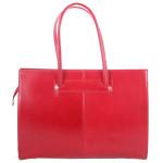Kožená praktická sytě červená velká kabelka Business