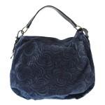 Kožená tmavě modrá kabelka na rameno carolin