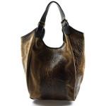 Kožená velká hnědá až tmavší béžová taška na rameno ramel