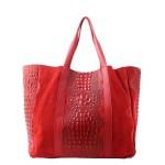 Kožená velká krokodýlí červená bordó taška na rameno janesi 2v1