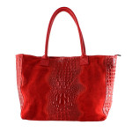 Kožená velká krokodýlí červená bordó taška na rameno jeana