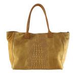 Kožená velká krokodýlí mahagonově hnědá taška na rameno jeana