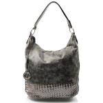 Krásná žářivá lesklá šedá kabelka Bright