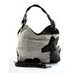 Krémová trendy kabelka s černým vzorem Madona