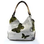 Krémová trendy kabelka se světle zeleným vzorem Madona