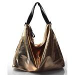 moderní lesklá bronzová kabelka na rameno erin