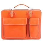 pánská oranžová kožená aktovka George