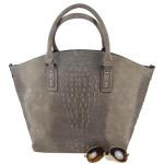 Šedo-hnědá kabelka s krokodýlím vzorem Adele