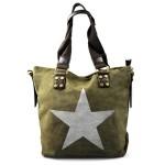 stylová moderní zelená taška na rameno military three
