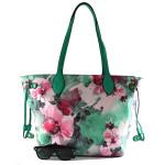 Zelená květinová barevná kabelka na rameno Darling